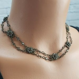 Kenny Ma Antiqued Delicate Flower Choker Necklace
